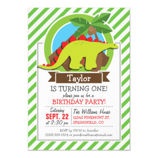 Stegosaurus Dinosaur, Dino; Green & White Stripes Invitation Cards