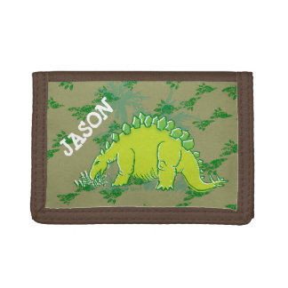 Stegosaurus dinosaur your name green wallet
