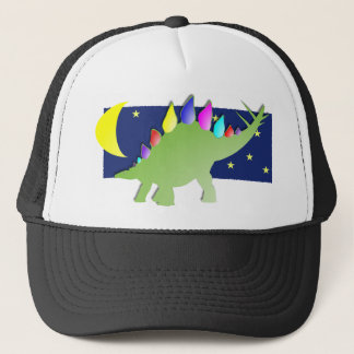 Stegosaurus in the night with moon and stars trucker hat