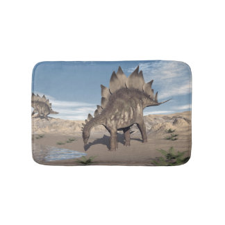 Stegosaurus near water - 3D render Bath Mat