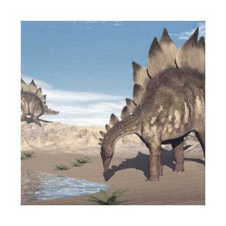 Stegosaurus near water - 3D render Canvas Print