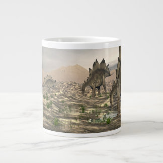 Stegosaurus near water - 3D render Large Coffee Mug