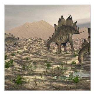 Stegosaurus near water - 3D render Perfect Poster