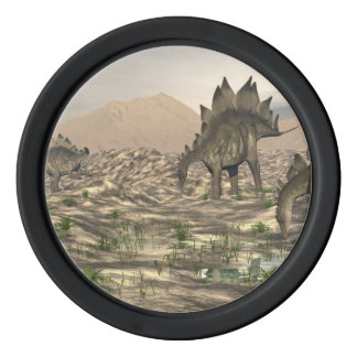 Stegosaurus near water - 3D render Poker Chips