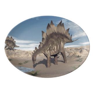 Stegosaurus near water - 3D render Porcelain Serving Platter