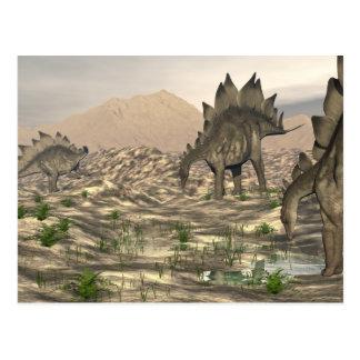 Stegosaurus near water - 3D render Postcard