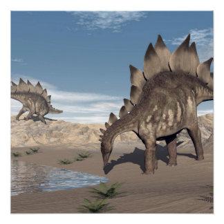 Stegosaurus near water - 3D render Poster
