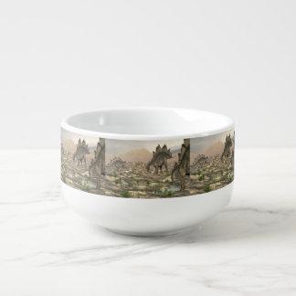 Stegosaurus near water - 3D render Soup Mug