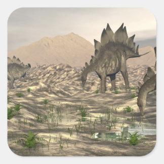 Stegosaurus near water - 3D render Square Sticker