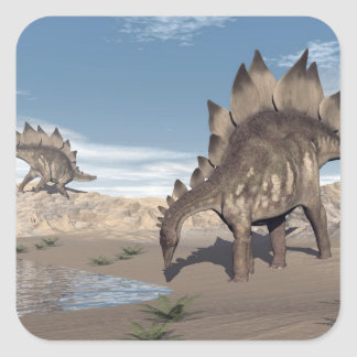 Stegosaurus near water - 3D render Square Sticker