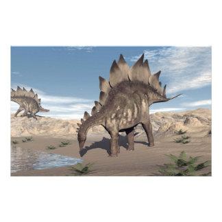 Stegosaurus near water - 3D render Stationery