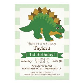 Stegosaurus on Pastel Green Stripes 5x7 Paper Invitation Card
