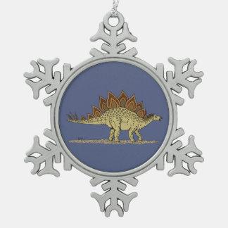 Stegosaurus Snowflake Pewter Christmas Ornament