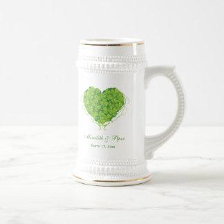 Stein vert de faveur de mariage de coeur de chope à bière