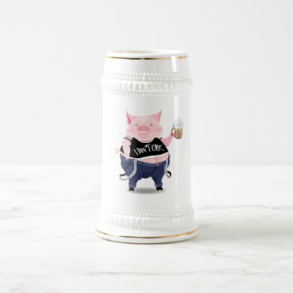 Stein  with funny pig picture beer steins