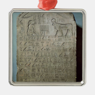 Stela commemorating the burial of the Apis Silver-Colored Square Ornament
