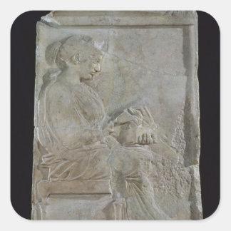 Stele of Philis, daughter of Cleomenes Square Stickers