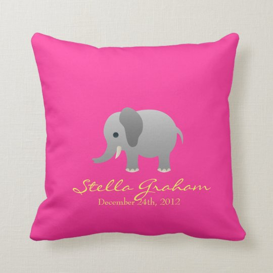 Stella Elephant Pink Grey Pillow