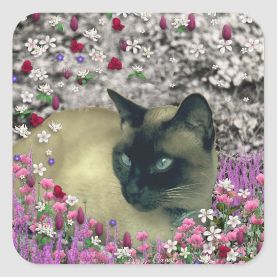 Stella in Flowers I – Chocolate Cream Siamese Cat Square Sticker