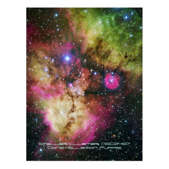 Stellar Cluster - NGC 2467, Constellation Puppis Postcard