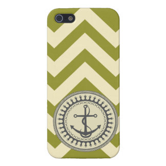 StellaRoot Anchor Down Chevron Moss Navy iPhone 5 Cases