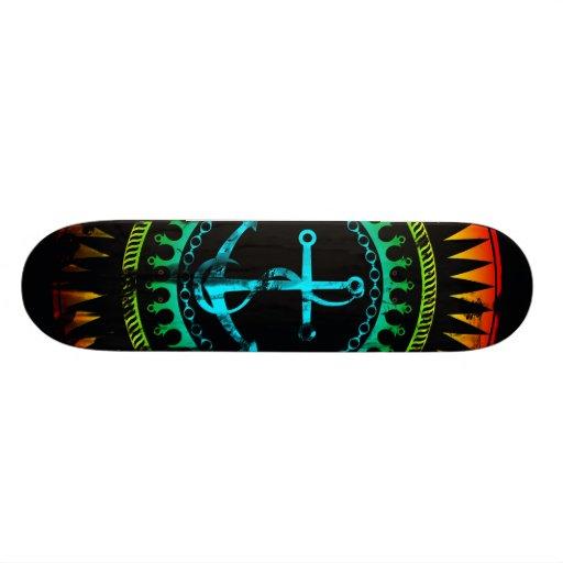 StellaRoot Anchor Down Gradient Grunge Distressed Custom Skate Board