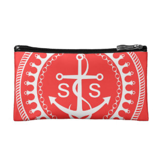StellaRoot Anchor Down Pink Preppy Personalize Makeup Bag