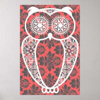 StellaRoot Hoot Owl Vintage Damask Print