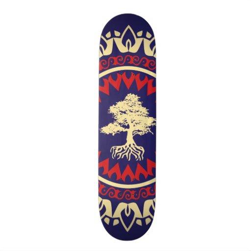 StellaRoot Tree RNC Red Navy Cream Pattern Custom Skateboard