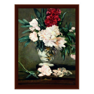 Stem Vase Life With Peonies By Manet Edouard Postcard