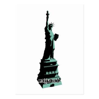 Stencil Statue Liberty Green Postcard