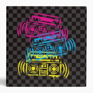 Stenciled Boomboxes 3 Ring Binder