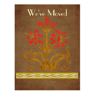 Stenciled Flowers New Address Moving Postcard