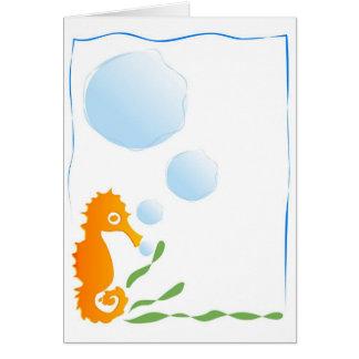 Stenciled Seahorse Card