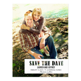 Stenciled Tab Save The Date Postcard