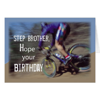 Step Brother Sports Mountain Bike Birthday Card