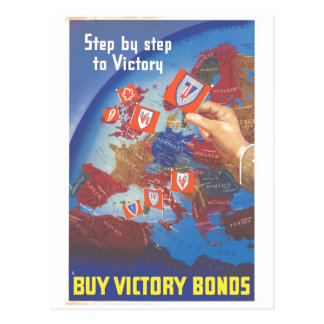 Step by Step to Victory … Buy Victory Bonds WW2 Postcard