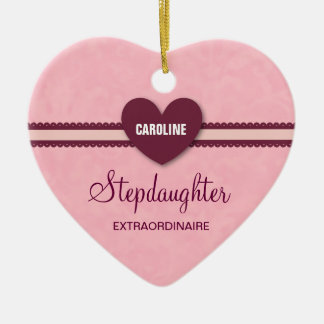 Stepdaughter Extraordinaire Heart Lace V07H Ceramic Ornament