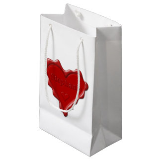 Stephanie. Red heart wax seal with name Stephanie. Small Gift Bag