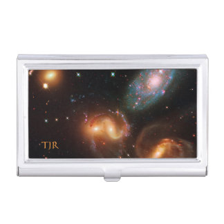 Stephans Quintet deep space star galaxy cluster Business Card Holder