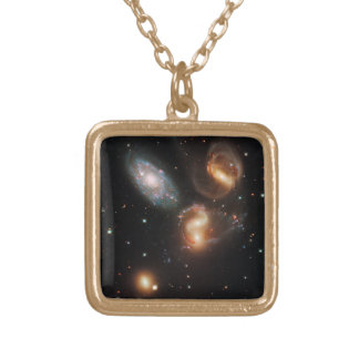Stephan's Quintet Galaxy Cluster Gold Plated Necklace