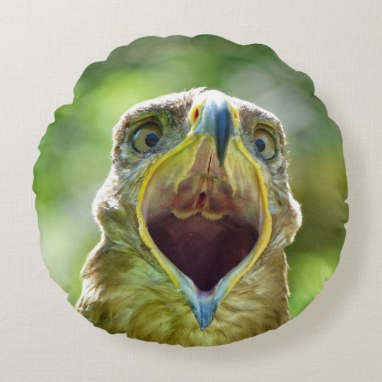 Steppe Eagle Head 001 2.1 Round Pillow