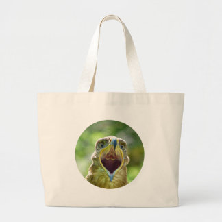 Steppe Eagle Head 004 01rd, screaming Large Tote Bag