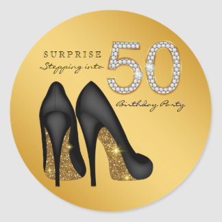 Stepping Into 50 Birthday Party Round Sticker