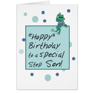 Stepson Frog in Jeans, Birthday, Polka Dots Card