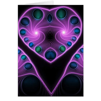 Stereo Love Heart Fractal Pink Greetings Cards