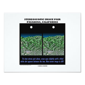 "Stereoscopic Image Pair Pasadena, California 4.25"" X 5.5"" Invitation Card"