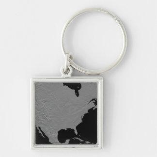 Stereoscopic view of North America 2 Silver-Colored Square Keychain