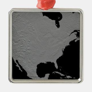 Stereoscopic view of North America 2 Silver-Colored Square Ornament