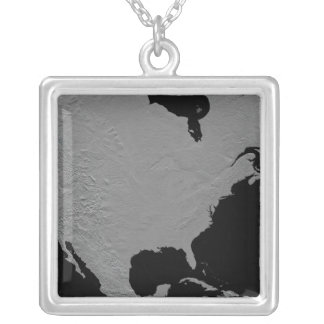 Stereoscopic view of North America 2 Silver Plated Necklace